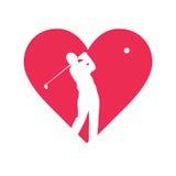 Disegno di vettore di golf di amore Fotografie Stock Libere da Diritti