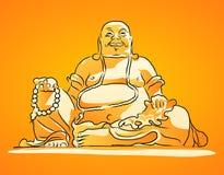 Disegno di vettore protetto arancia di Maitreya Buddha Fotografie Stock Libere da Diritti