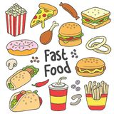 Disegno disegnato a mano degli alimenti a rapida preparazione Fotografie Stock