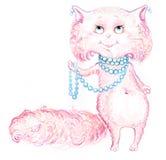Disegno dispettoso rosa della mano del gatto Fotografie Stock Libere da Diritti