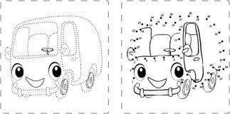 Disegno divertente del bus con i punti e le cifre Illustrazione Vettoriale
