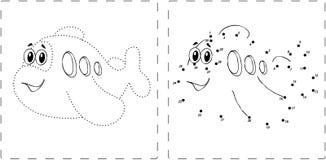 Disegno divertente dell'aeroplano con i punti e le cifre Illustrazione Vettoriale