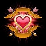Disegno dorato del cuore Immagine Stock