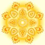 Disegno dorato del sole della mandala Fotografia Stock