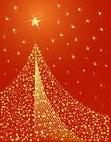 Disegno dorato dell'albero di Natale Fotografia Stock Libera da Diritti