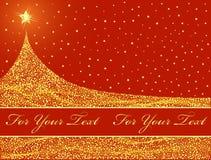 Disegno dorato dell'albero di Natale. Immagine Stock