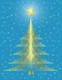 Disegno dorato dell'albero di Natale. Fotografia Stock