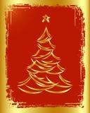 Disegno dorato dell'albero di Natale. Immagini Stock