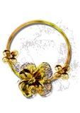 Disegno dorato dell'anello Immagine Stock