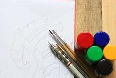 Disegno e pittura di schizzo Fotografia Stock