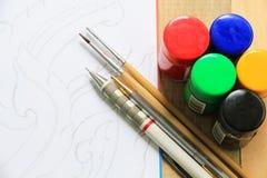 Disegno e pittura di schizzo Fotografia Stock Libera da Diritti