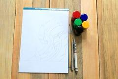 Disegno e pittura di schizzo Immagini Stock Libere da Diritti