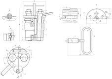 Disegno in espansione degli elementi di ingegneria royalty illustrazione gratis