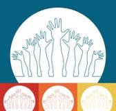 Disegno felice realistico delle mani. Fotografie Stock