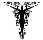 Disegno femminile 3 del tatuaggio di Flourishes Immagini Stock Libere da Diritti