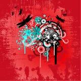 Disegno floreale astratto rosso Fotografie Stock Libere da Diritti