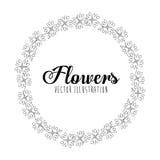 Disegno floreale in bianco e nero Fotografia Stock Libera da Diritti