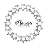 Disegno floreale in bianco e nero Immagine Stock