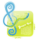 Disegno floreale chiave del violino Immagini Stock Libere da Diritti