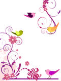Disegno floreale con gli uccelli Fotografie Stock Libere da Diritti