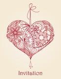 Disegno floreale del cuore Fotografia Stock Libera da Diritti