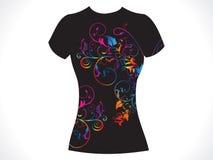 Disegno floreale della maglietta astratta della ragazza Fotografia Stock Libera da Diritti