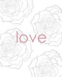 Disegno floreale della stampa di amore illustrazione di stock