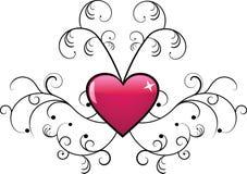 Disegno floreale di vettore con cuore Fotografia Stock Libera da Diritti
