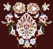 Disegno floreale su colore marrone Fotografia Stock Libera da Diritti