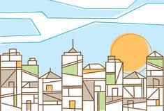 Disegno fresco di una città contemporanea Immagine Stock Libera da Diritti