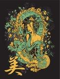 Disegno giapponese della maglietta Fotografia Stock