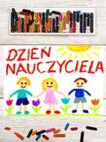 Disegno: Il polacco esprime il GIORNO del ` S dell'INSEGNANTE Immagine Stock