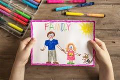 Disegno incompleto della famiglia fotografie stock
