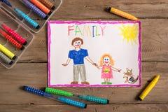 Disegno incompleto della famiglia immagini stock libere da diritti