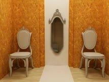 Disegno interno classico, due poltrone con lo specchio Immagine Stock