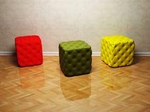 Disegno interno con tre soffi colorati Immagini Stock Libere da Diritti