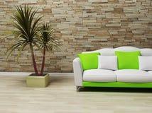 Disegno interno con un sofà e una pianta Immagine Stock Libera da Diritti