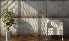 Disegno interno del muro di cemento con la poltrona Fotografia Stock Libera da Diritti