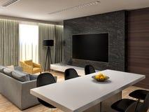 Disegno interno del salone moderno illustrazione 3D illustrazione di stock