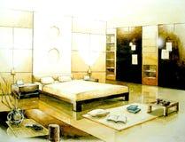disegno interno dell'illustrazione della camera da letto di tono di seppia Immagini Stock Libere da Diritti