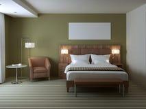Disegno interno della camera da letto alla moda Fotografie Stock Libere da Diritti