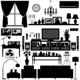 Disegno interno della casa della mobilia del salone Immagini Stock