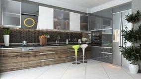 Disegno interno della cucina moderna Fotografia Stock