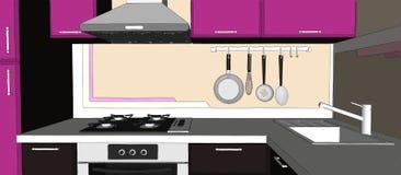 Disegno interno della cucina porpora e marrone Fotografie Stock Libere da Diritti