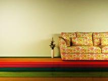 Disegno interno luminoso con un sofà piacevole Fotografia Stock Libera da Diritti