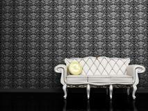 Disegno interno moderno con un sofà bianco Immagine Stock Libera da Diritti