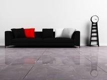 Disegno interno moderno con un sofà nero Immagine Stock Libera da Diritti