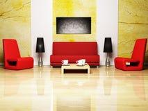 Disegno interno moderno del salone Fotografia Stock Libera da Diritti