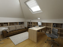 Disegno interno moderno (l'appartamento 3d del privat rende Immagini Stock Libere da Diritti