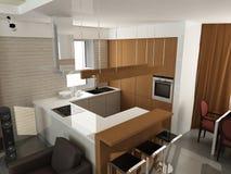 Disegno interno moderno (l'appartamento 3d del privat rende Immagine Stock